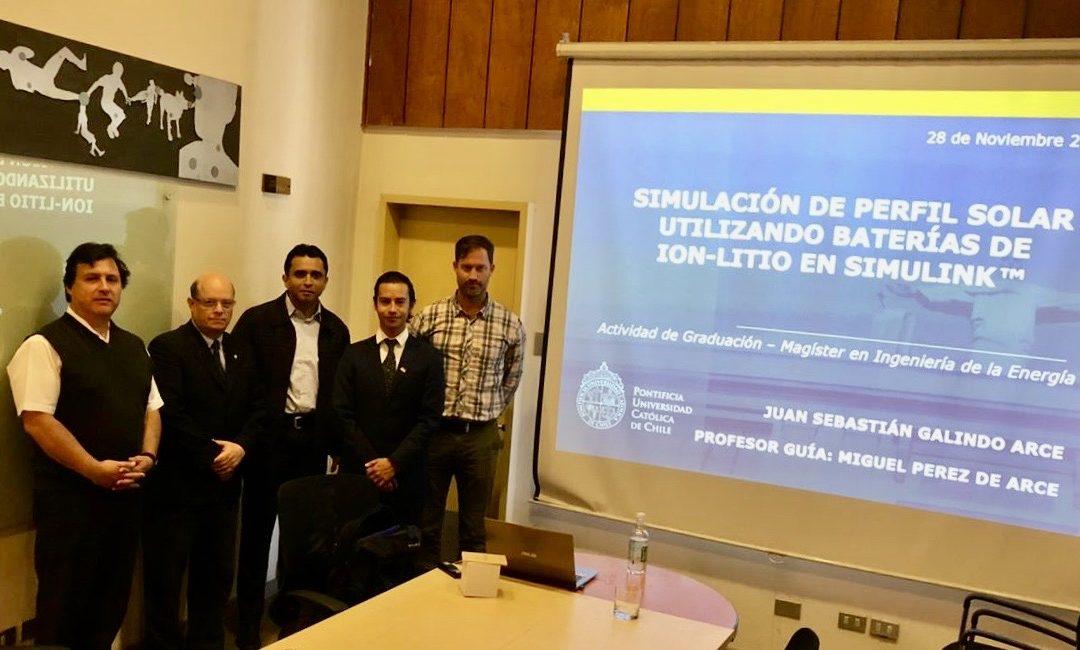 Juan Galindo se convierte en nuevo graduado del Magíster en Ingeniería de la Energía de la Pontificia Universidad Católica de Chile.